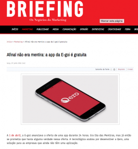 After all, it was not a lie: the E-goi app is free : Briefing (2016/06)