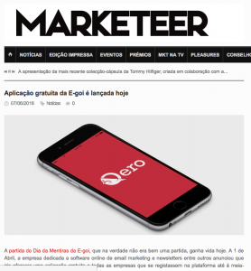 E-goi launches a free application today : Marketeer (2016/06)